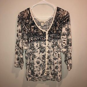 Lucky Brand summertime Floral 3/4 Sleeve Top